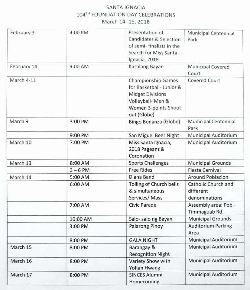 Official Schedule for the 104th Foundation Day Celebrations