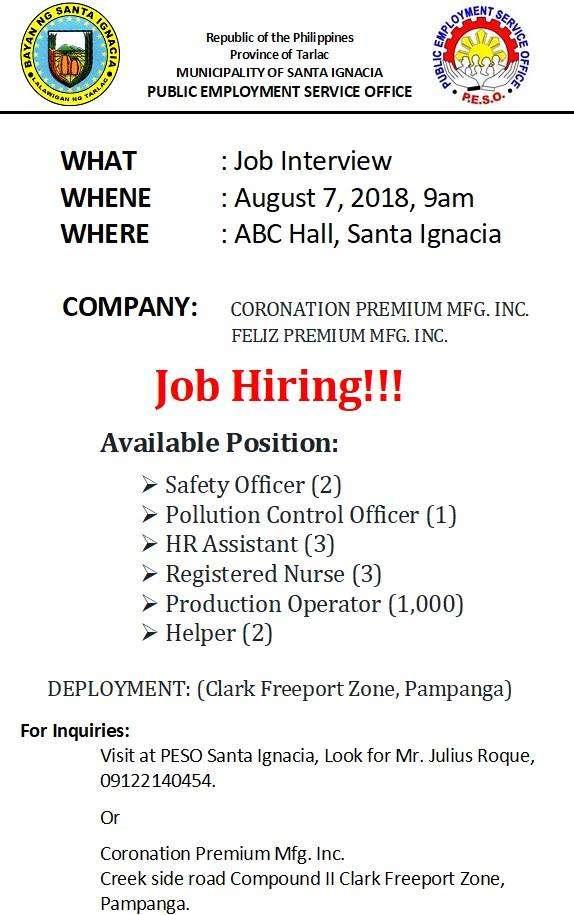 Job Hiring – August 07, 2018