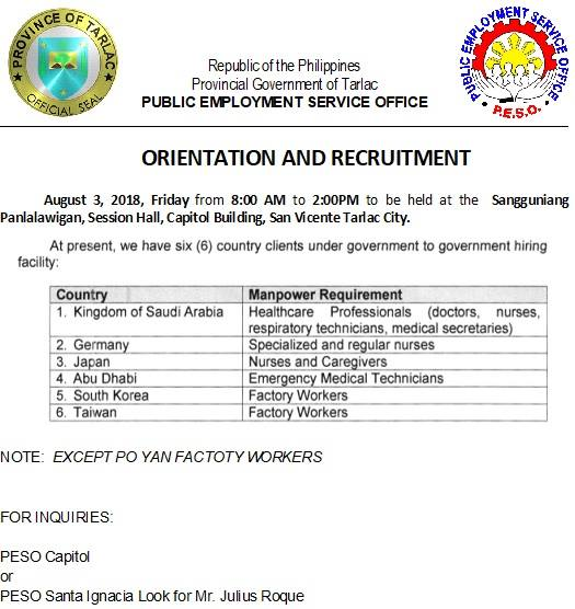 ORIENTATION & RECRUITMENT (AUGUST 3, 2018 @ 8:00 am to 2:00PM)
