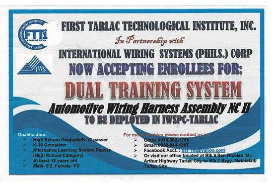 DUAL TRAINING SYSTEM (Automotive Wiring Harness Assembly NC II)