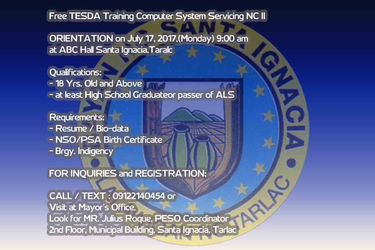 Free Tesda Training Computer System Servicing NC II