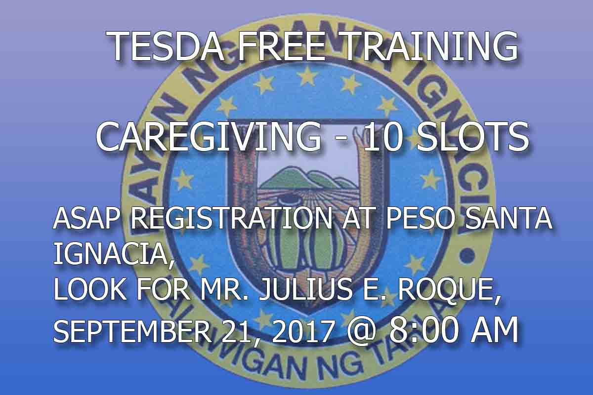 Tesda Free Training Caregiving – 10 Slots