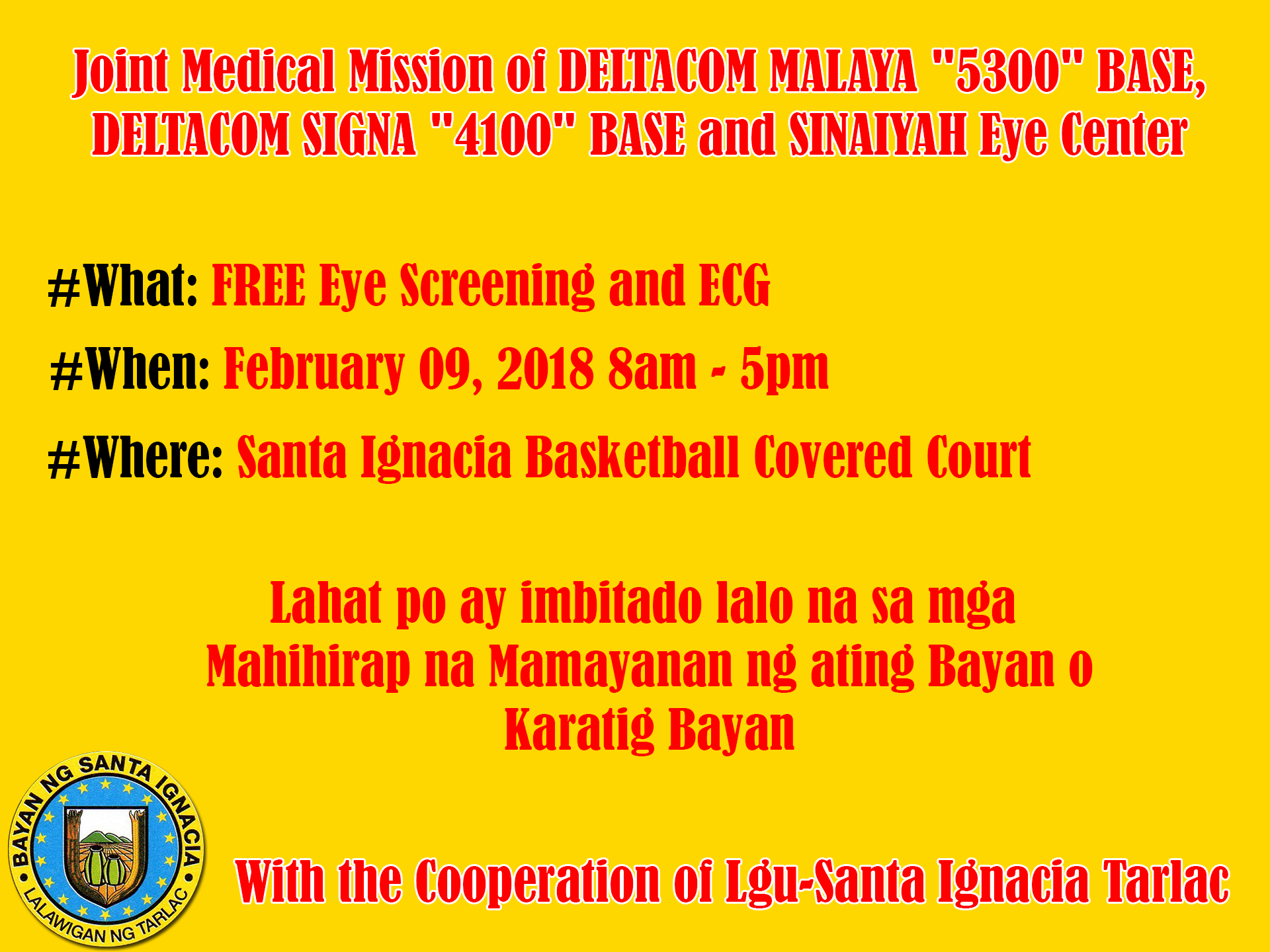 "Joint Medical Mission of DELTACOM MALAYA ""5300"" BASE, DELTACOM SIGNA ""4100"" BASE and SINAIYAH Eye Center"