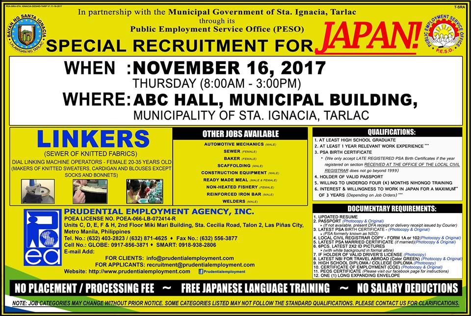 Special Recruitment for JAPAN