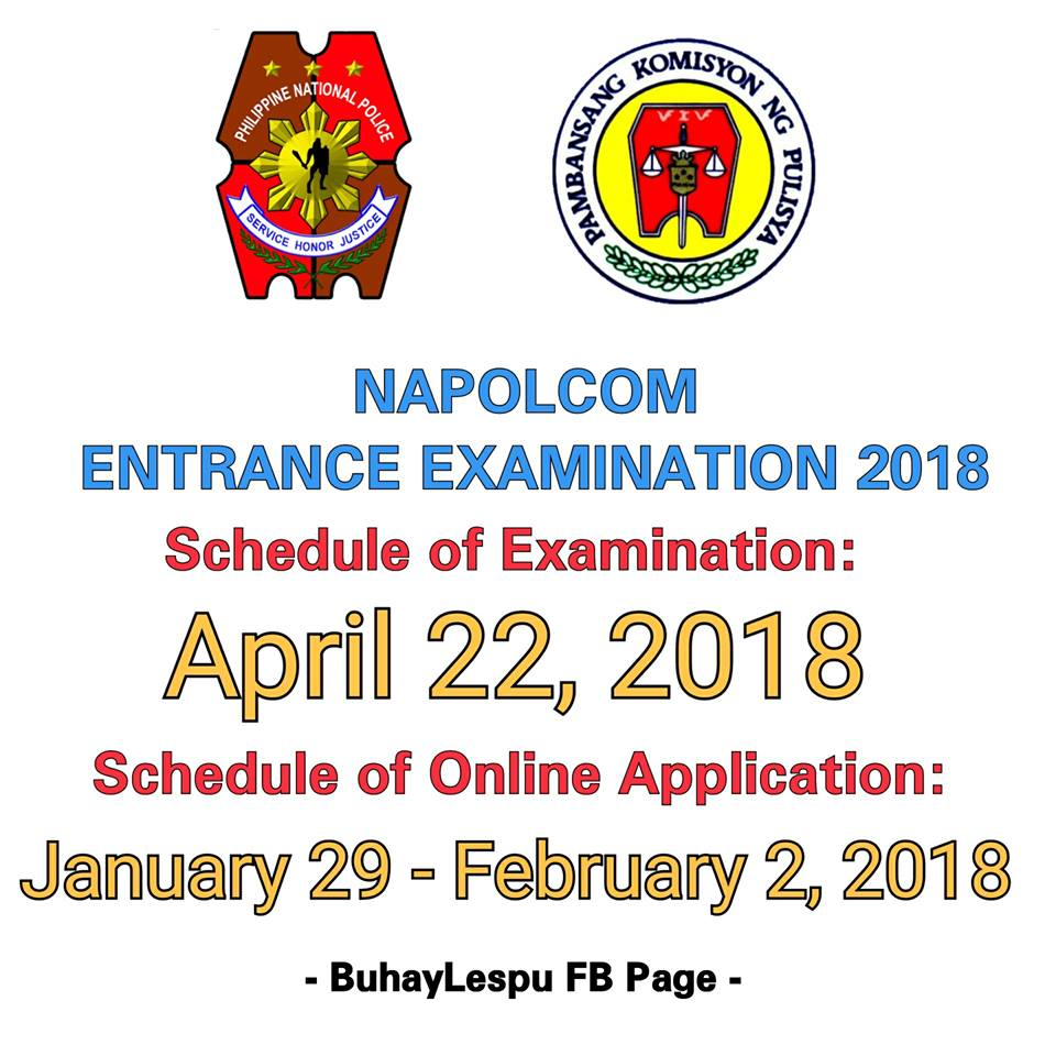ATTENTION: PNP/NAPOLCOM ENTRANCE EXAMINATION 2018 Schedule!!!