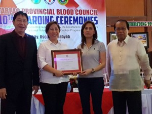 Congratulations Mayor Nora T. Modomo and Santa Ignacia for recieving an Award of Appreciation during Tarlac Provincial Blood Council 10th Awarding Ceremonies (8)