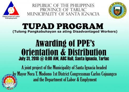 DOLE - TUPAD Orientation, Profilling and Awarding of PPE's at ABC Hall Santa Ignacia - July 31, 2018